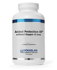 Added Protection III w/o fe (Iron)  and cu (Copper) by Douglas Labs 180 Tablets