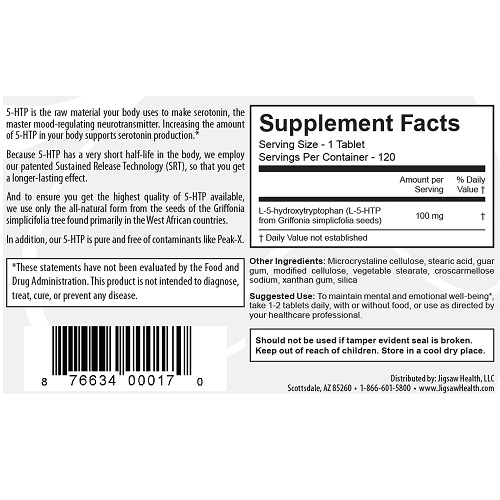 5-HTP with Sustained release technology by Jigsaw supplement Facts