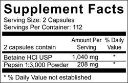 Betain & Pepsin byu Ortho Molecular Product ingredients
