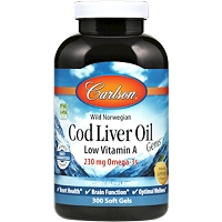 Cod Liver Oil - Low Vitamin A by Carlson Labs - 300 Softgels