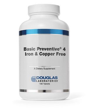 Basic Preventive 4 Iron and Copper Free By Douglas Labs - 180 Tablets