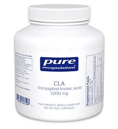 CLA (conjugated linoleic acid) 1000mg by Pure Encapsulations 180 Soft Gels